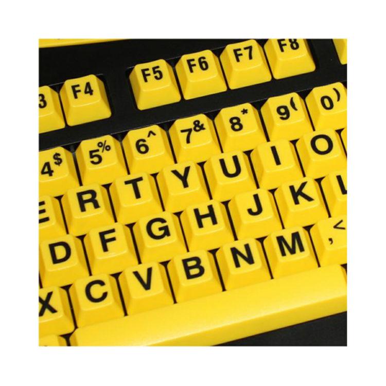 Grootletter toetsenbord gele achtergrond