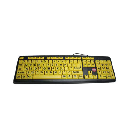Grootletter toetsenbord gele achtergrond ST683175